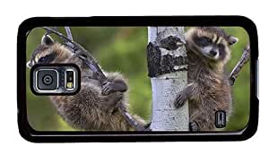 Hipster Samsung Galaxy S5 Cases water proof racoons on tree PC Black for Samsung S5