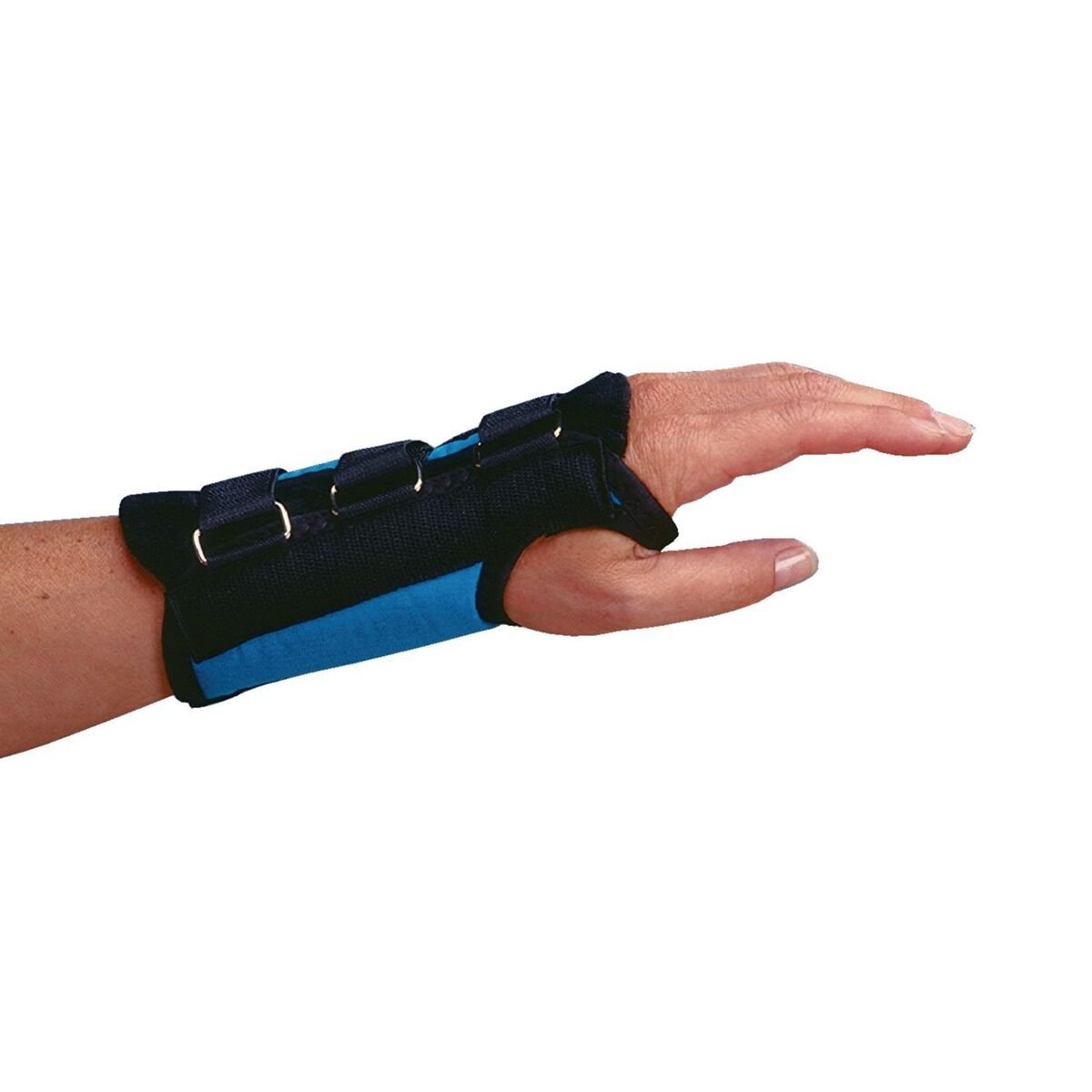 Rolyan D-Ring Left Wrist Brace, Size Medium Fits Wrists 6.75''-7.5'', 7'' Regular Length Support, Teal Brace with Straps and D-Ring Connectors to Secure and Stabilize Hands and Wrists