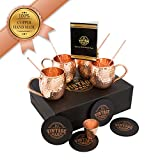 1941 Vintage Copper Moscow Mule Mugs Set By 100% Solid Thick Walled Copper, 4 16oz Cups With Handle For Drinks And Beverages, 4 Copper Straws, 4 Wooden Coasters, Shot Glass And Cocktail Recipe Book