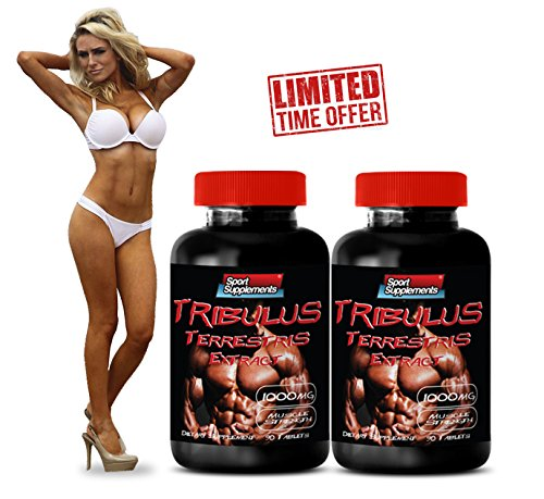 Tribulus Terrestris Extract - Most Powerful Testosterone Booster - Top Quality (2 Bottles 180 Tablets)