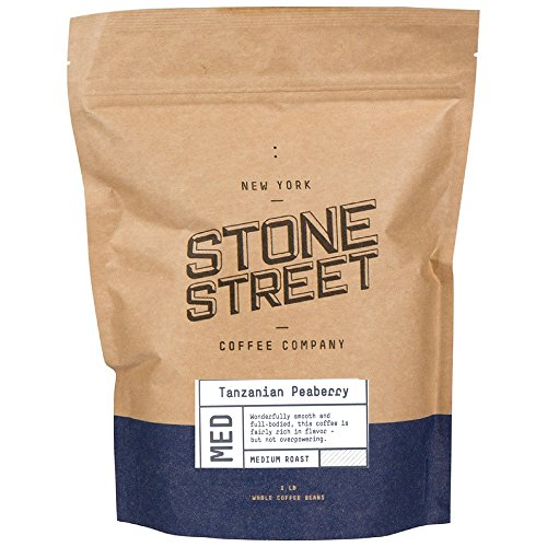 1 Lb Whole Bean - Stone Street Coffee Tanzania Peaberry Fresh Roasted Coffee Whole Bean Coffee, 1 Pound