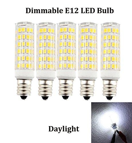 Ashialight Equal 40 Watt, E12 LED Tubular Bulbs, Daylight, Candelabra E12 Base,120 volt, Replaces T3/T4 C7/S6 Halogen Bulb for Chandelier and Salt Lamps (Pack of 5) (T3 Candelabra 120v Dimmable E12)