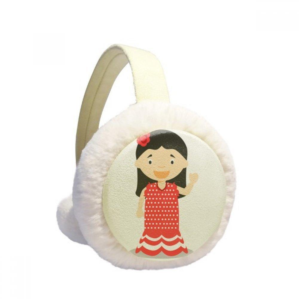 Flower Red Dress Spain Cartoon Winter Earmuffs Ear Warmers Faux Fur Foldable Plush Outdoor Gift