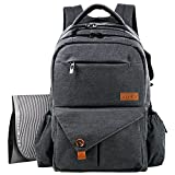 HapTim Multi-function Large Baby Diaper Bag Backpack W/Stroller Straps-Insulated Bottle Pockets-Changing Pad,Stylish & Durable(Dark Gray-5284) Image