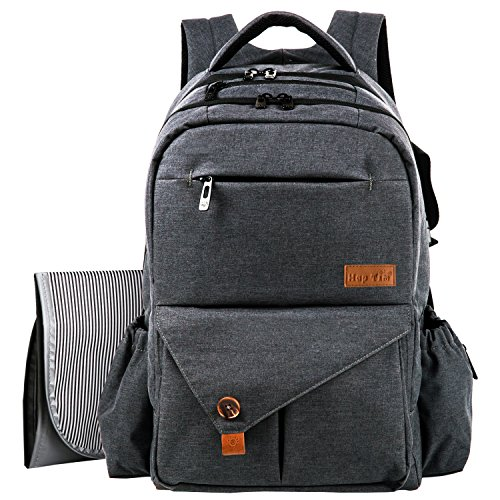 Best Backpack Diaper Bag (HapTim Multi-function Large Baby Diaper Bag Backpack W/Stroller Straps-Insulated Bottle Pockets-Changing Pad,Stylish & Durable(Dark Gray-5284))