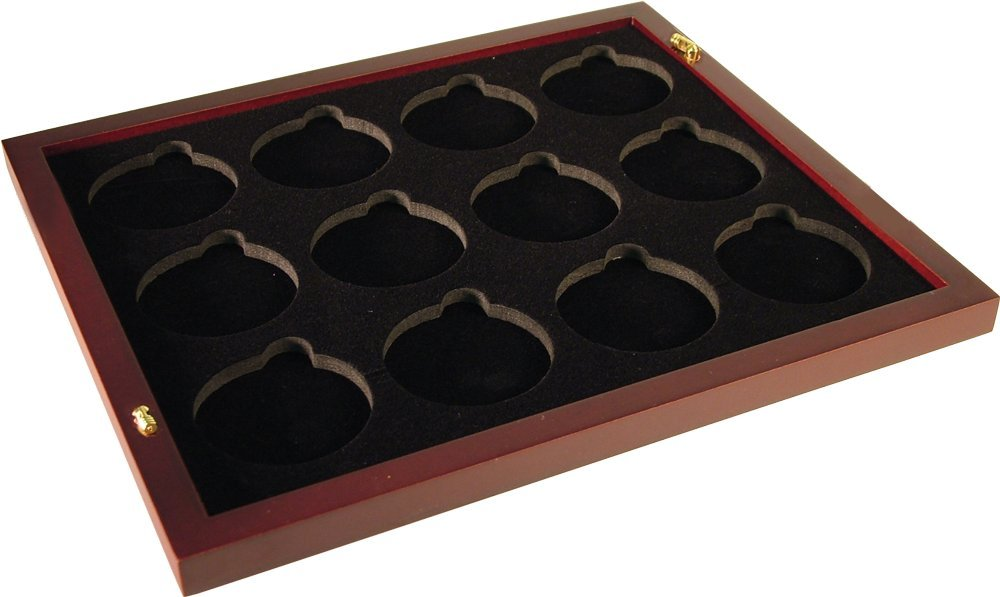 Coin Tray for 12 Extra Large or Air-Tite ''I'' Capsules / 2'' Challenge Coins fits in Mahogany Finish Wood Display Case by Guardhouse (Image #1)