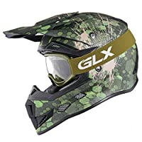 GLX Youth Kids Off Road Motocross ATV Dirt Bike Helmet Camouflage Green [DOT] +Gloves+Goggles (L) by GSB