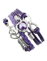 Susenstone® 1PC Infinity Love Heart Pearl Friendship Antique Leather Charm Bracelet