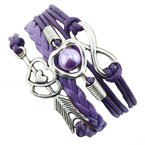 Susenstone® 1PC Infinity Love Heart Pearl Friendship Antique Leather Charm Bracelet (Purple)