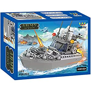 Webby Army Patrol Boat Building Blocks (193 Count), Multi Color