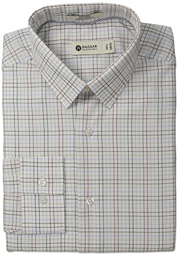 Haggar Men's Multi Color Check Point Collar Fitted Long Sleeve Dress Shirt, White, 17x34/35