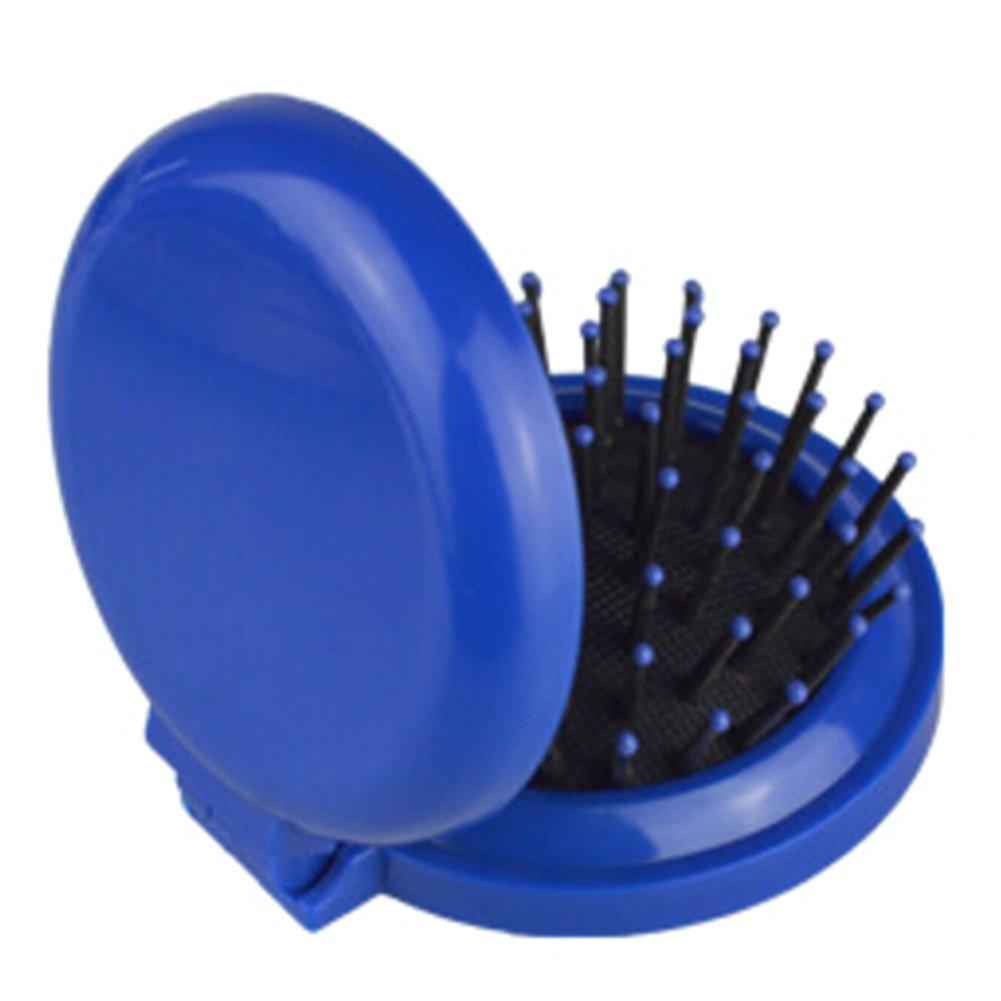 Sylvia qer Tragbarer, faltbarer Massage Kamm mit Spiegel, Mini Haarbürste, rund KOMPAKT Spiegel Outdoor Travel Carry Werkzeug Mini Haarbürste
