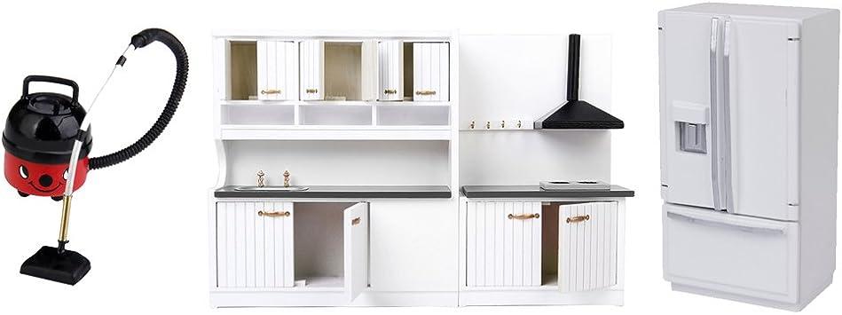 Amazon.es: Dolity 3 Pedazos Escala 1/12 Miniaturas Mueble de Cocina + Refrigerador de Puerta Doble + Aspiradora Accesorios de Casa de Muñecas: Juguetes y juegos