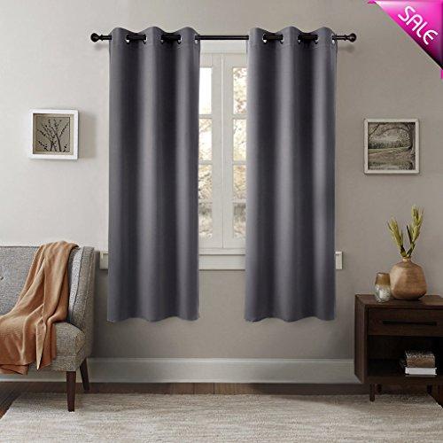 (GIAERD Window Panel Curtains W42xL63-Inch,Light Blocking Solid Eyelet Top Room Darkening Draperies for Living Room Bedroom(2 Panels,Grey))