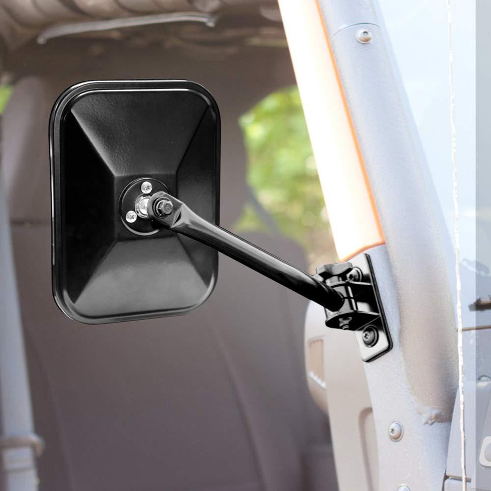 Carrfan KKmoon Auto R/ückspiegel Au/ßenspiegel Rechteckspiegel 4x4 Offroad Spiegel Schnellspanner f/ür Jeep Wrangler