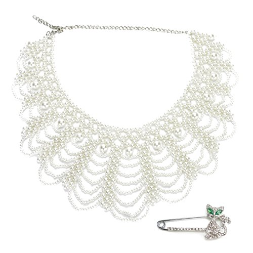 kilofly White Faux Pearl False Collar Necklace, Coco, with Rhinestone Cat Pin (Pearl Eye White Cats)
