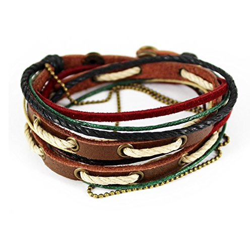 [Simple Fashion Colour Braided Rope Three-tone Button Wrap Bracelet] (Necklace Love Beads)