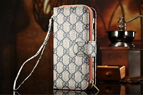 iPhone 6 4.7 inch Luxury PU Leather Flip Folio Case Handbag Purse Wallet Cover Card Holders Case with Zipper (Pattern 7)