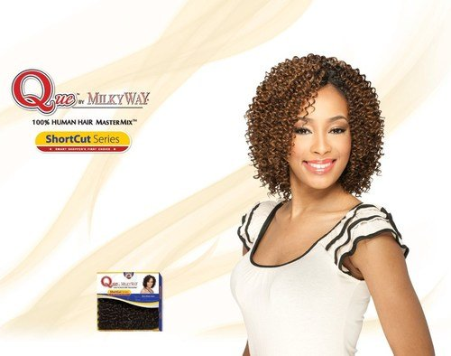 MilkyWay Que JERRY CURL 3PCS Human Hair MasterMix Weave Extension #4 Med. Brown