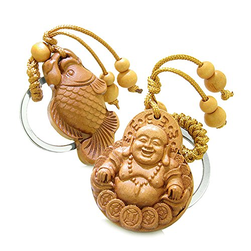 Happy Buddha Coins and Fortune Fish Double Lucky Powers Charms Set Key Chains