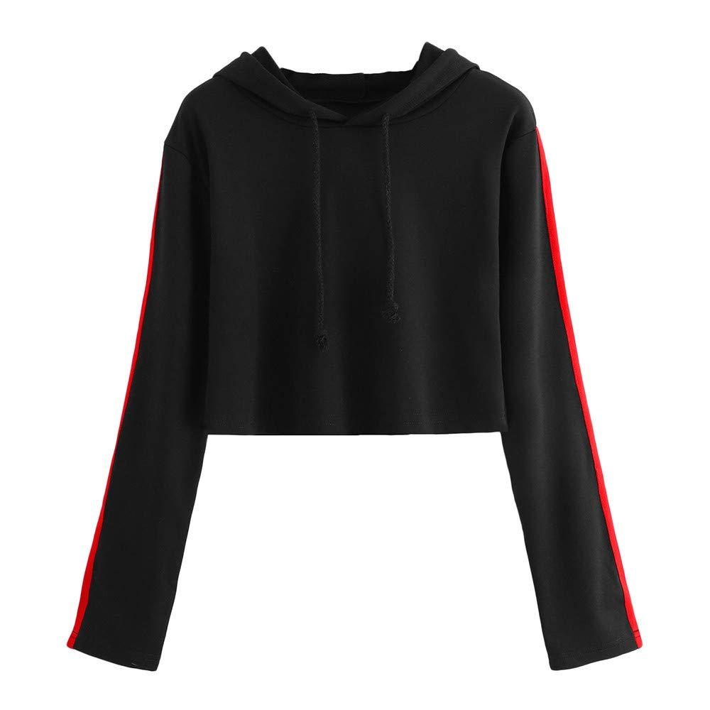 FeiBeauty Frauen Hülsen Colorblock Lange Hülsen Taille Junge Mode Kapuzenpullover Tunnelzug lose Hemdjacke