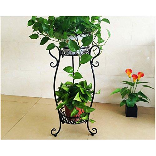 Flower Stand 2 Tiered Scroll Decorative Metal Stands Plant Indoor Flower Pot Rack Display Shelf Holds 2 Flower Pot (Color : B)