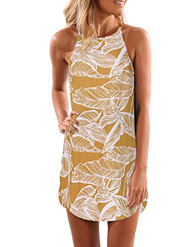 Blooming Jelly Women's Sleeveless Printed Flower Style Casual Floral Mini Dress Yellow