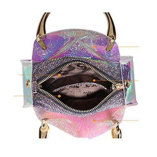 Pink Diagonal Summer Shoulder Transparent Chain Child Bag Hand Jelly Bag Spring Mini Women Handbags Laser 04q6O