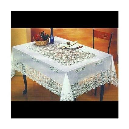Ordinaire White Crocheted Vinyl Lace Tablecloth: 54u0026quot;x72u0026quot;/60u0026quot;x90u0026quot;/