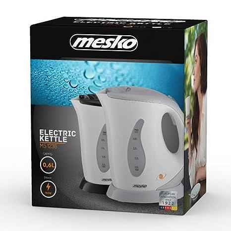 Mesko MS1236C Hervidor De Agua, 760 W, 0.6 litros, Plástico, Blanco/Negro: Amazon.es: Hogar