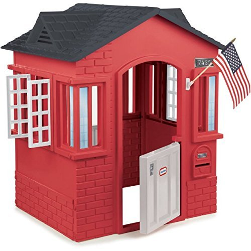 Red Cottage Playhouse For Kids With 2 Windows & Mailbox Outdoor Indoor Playhouses Childs House Cabin Toddler Playset Modern Playsets NEW