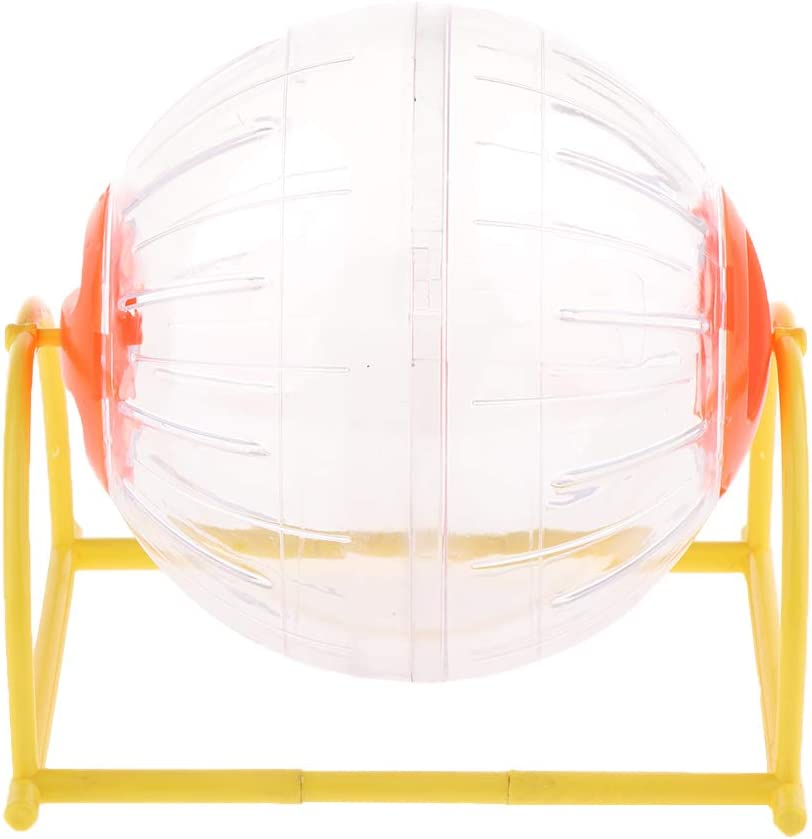 Fenteer Hamster Chinchilla Conejillo De Indias Pelota De Ejercicio De Jerbo para Correr Bola De Hámster Transparente Y Transparente con Tapa Y Soporte De Colo - Naranja