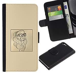 Paccase / Billetera de Cuero Caso del tirón Titular de la tarjeta Carcasa Funda para - smart smile poster paper artist sketch - Apple Iphone 5 / 5S