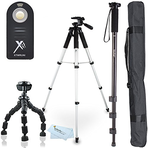 "Triple Tripod Kit + RC-6 Wireless Shutter Release Remote Control For Canon EOS Rebel T5i, T4i, T3i, 5D, 7D, 7D Mark II, 6D, 60D, 70D DSLR Includes 57"" Full Tripod + 67"" Monopod + 10"" Flexible Tripod from ButterflyPhoto"