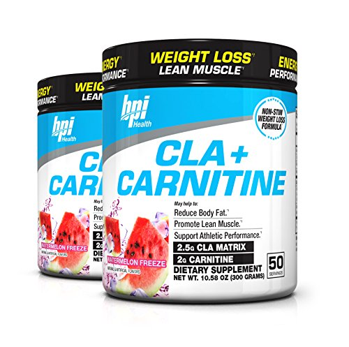 BPI Sports Cla + Carnitine Non-Stimulant Weight Loss Supplement Powder, 300 Gram, 50 Servings (2 Pack) (Watermelon) by BPI Health