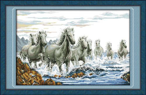 Benway Counted Cross Stitch White Horses Galloping In Water