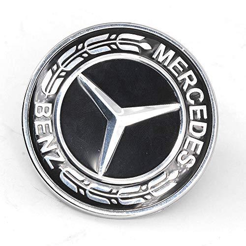 (Ruanye for Mercedes Benz C E SL GLS Class Ornament Logo Black Flat Hood Badge Emblem W205 W204 W212 W221 C208 W238; 0008171701 ;57MM (000-817-17-01 -Black))