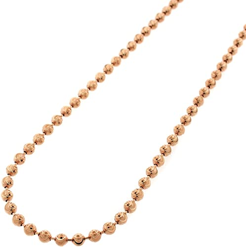 Italian Sterling Silver Rose Gold Finish 3mm Moon Cut Bead Ball Chain Necklace