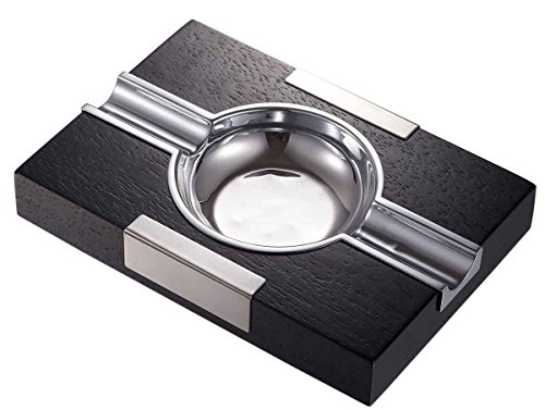 - Visol Products Cusco Cigar Ashtray Black Wood with Chrome Accents