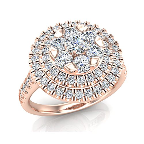 - 1.25 ct tw Double Halo with Solitaire look Diamond Cluster Ring 14K Rose Gold (Ring Size 5)