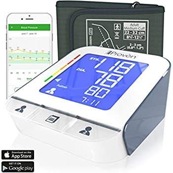 ... Upper Arm -Premium Technology: Double Pulse Detection Technology - Lightning Fast (30-40 SEC) Highly Accurate - Free App and Medium Cuff (White-Gray)