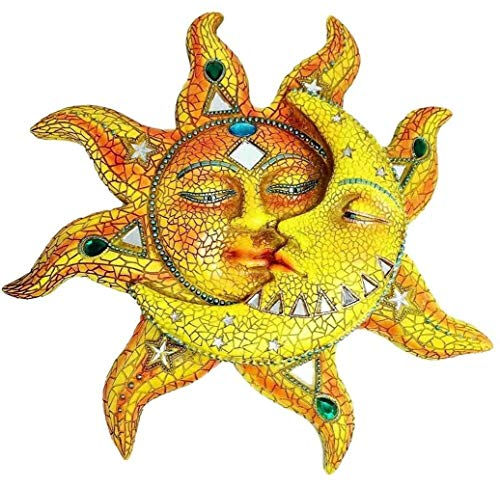 Ky & Co YK Beautiful Mosaic Celestial Sun and Moon Wall Sculpture Plaque Resin Statue