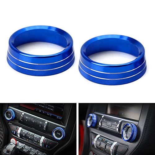- iJDMTOY 2pc Sports Blue Aluminum Radio CD Volume/Tune Knob Ring Covers For 2015-up Ford Mustang