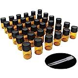 One Trillion,36 Pcs – 2ml Bottiglia di vetro ambrato per oli profumati, Aromaterapia , Olio diffusore ,Olio Essenziale ,con riduttori di orifizio