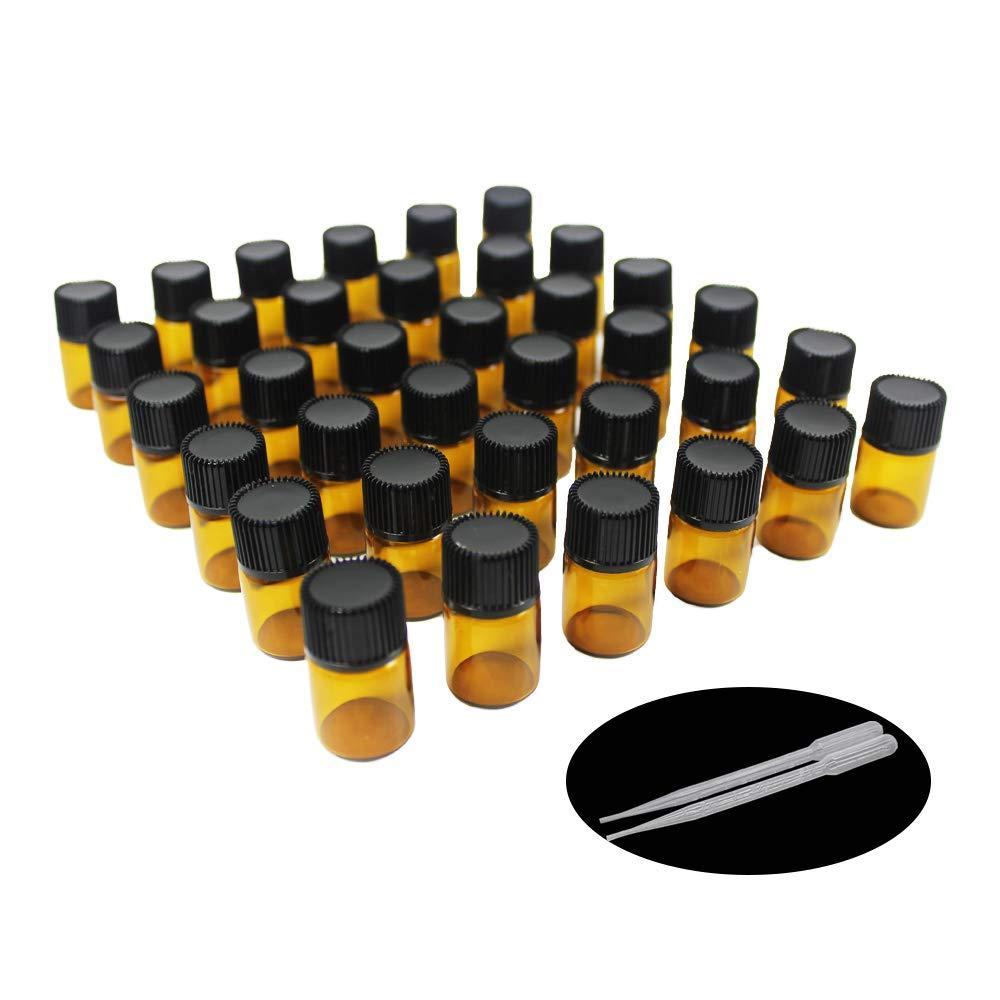 Yizhao Ambar Botellas de Aceite esencial de Vidrio Vacías 2ml,con Reductor de Orificio y Tapa,Para Aceites Esenciales, E-Líquidos,Aromaterapia,Perfumes,Masajes,Laboratorio de Química – 36 Pcs