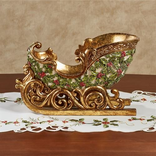 Touch of Class Winterberry Sleigh Tabletop Accent Red