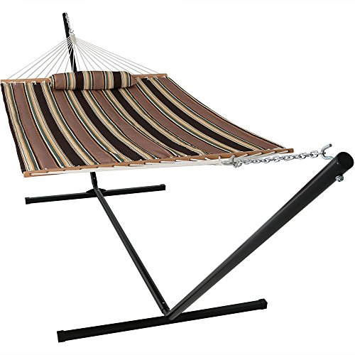 Sunnydaze 2 Person Double Hammock with 15 Foot Portable Steel Stand & Spreader Bar, Quilted Fabric Bed, Sandy Beach