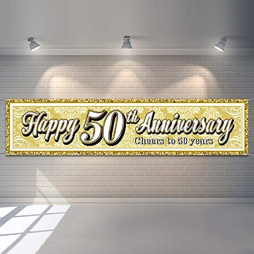 Wedding Anniversary Banners (Happy 50th Anniversary Banner Cheers to 50 Years Party Decorations Anniversary Sign Banner for 50th Anniversary Birthday Party Wedding Anniversary Big Event Party)