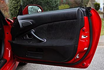 AP2 Compatible with Honda S2000 1999-09 RedlineGoods Door Insert Covers Black Leather-Red Thread