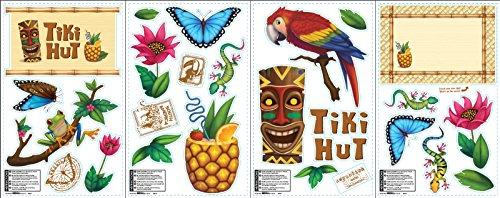 BirthdayExpress Tiki Hut Jungle Party Supplies - Removable Vinyl Wall Decal Decorations ()